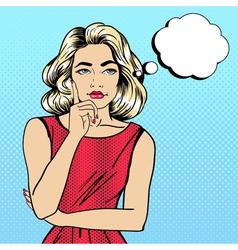 Woman thinking pretty girl doubts pop art vector