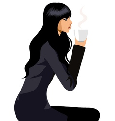 Woman with coffee vector