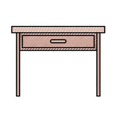 Wooden desk of one drawer in colored crayon vector