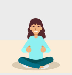 yoga woman meditating and doing yoga vector image
