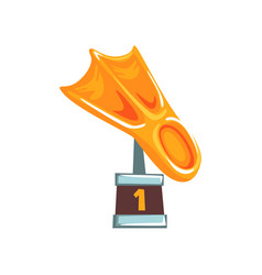 Cartoon golden trophy in form of fin on brown base vector