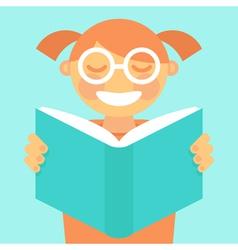 cartoon kid reading book vector image