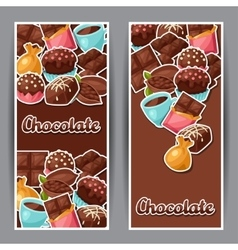 Chocolate vertical banners with various tasty vector image vector image