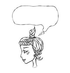 Cute cartoon hipster girl face head in profile vector