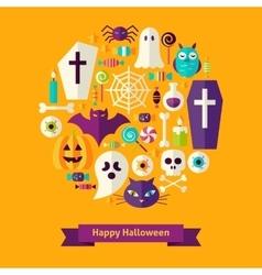 Flat Happy Halloween Concept vector image vector image