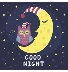Good night card with sleeping moon and cute owl vector image vector image
