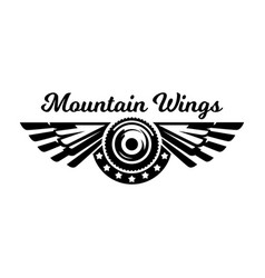 monochrome logo wheel and wings mountain biking vector image vector image