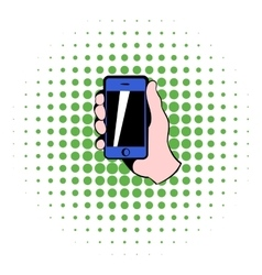 Smartphone in hand icon comics style vector image