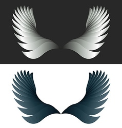 Angel wings black and white fantasy decoration vector image vector image
