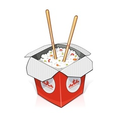 Fast food Rice in paper vector image vector image