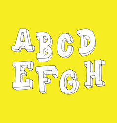hand drawn letters sequence from a to h in 3d vector image