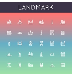 Landmark Line Icons vector image