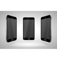Three realistic glossy smartphones mockup with vector image vector image