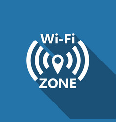 wi-fi network flat icon with long shadow vector image vector image