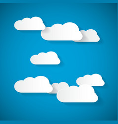 Clouds Cut From Paper on Blue Sky Background vector image