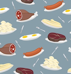Food seamless pattern Sausage and dumplings Ham vector image vector image
