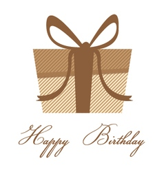 Happy birthday with brown colorful gift box on a vector image