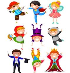 kids in costumes vector image vector image