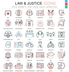 Law and justice ultra modern color outline vector image vector image