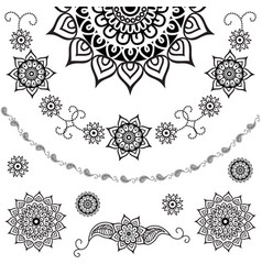 set of decorative flowers and paisley vector image