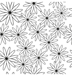 Silhouettes of daisies in black as a seamless vector image vector image