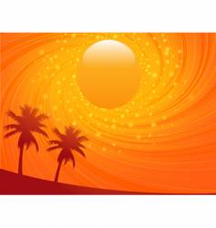 summer sunset and palm treese vector image vector image