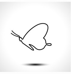 butterfly line icon isolated on white background vector image vector image