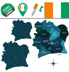 Cote DIvoire map with named divisions vector image vector image