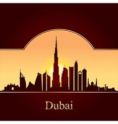 Dubai skyline silhouette on sunset background vector image