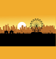silhouette amusement park scenery for kid vector image