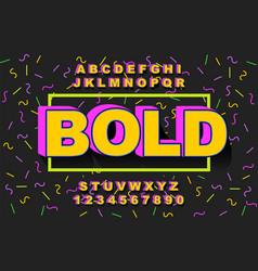 3d bold retro font vintage alphabet vector image