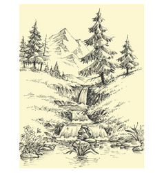 A creek in the mountains alpine waterfall vector