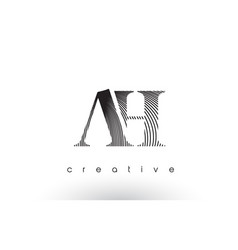ah logo design with multiple lines and black vector image
