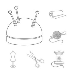 Atelier and sewing outline icons in set collection vector