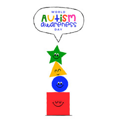 autism awareness day funny children shapes card vector image