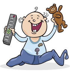 Baby boy with remote control and teddy bear vector