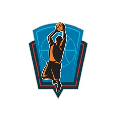 Basketball player rebounding ball shield retro vector