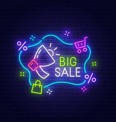 big sale neon sign bright signboard light banner vector image
