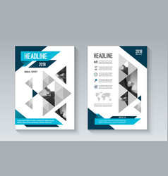 blue business brochure flyer in geometric style vector image