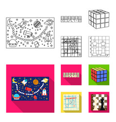 board game outlineflat icons in set collection vector image