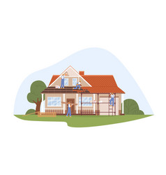 builders work at house renovation workers vector image