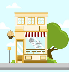 cake shop store front building background vector image