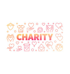 charity red creative horizontal line banner vector image