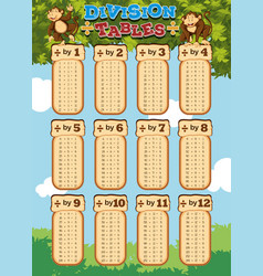 chart design for division tables vector image