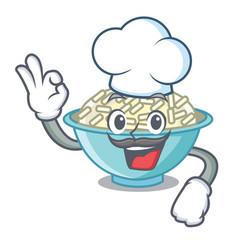 chef rice bowl character cartoon vector image