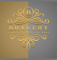 Classic luxurious letter b logo with embossed vector