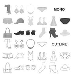 clothes and accessories monochrom icons in set vector image