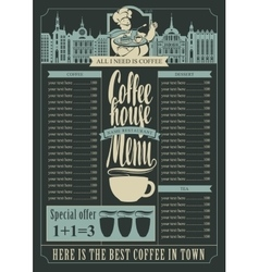 Coffee house menu for a price list vector