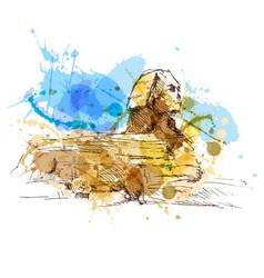 Colored hand sketch sphinx vector image