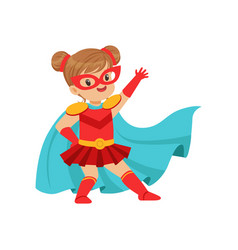 comic brave kid in superhero red costume with mask vector image